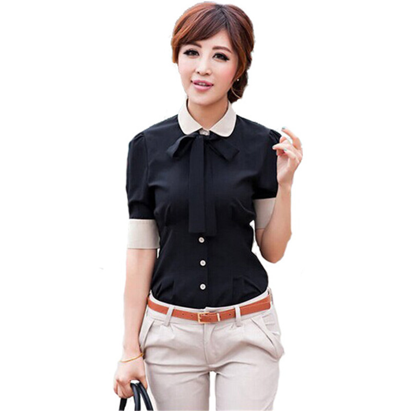 Get Quotations 2017 Patchwork Women Office Shirts With Bow Tie Tops Short Sleeve Workwear Las Turn