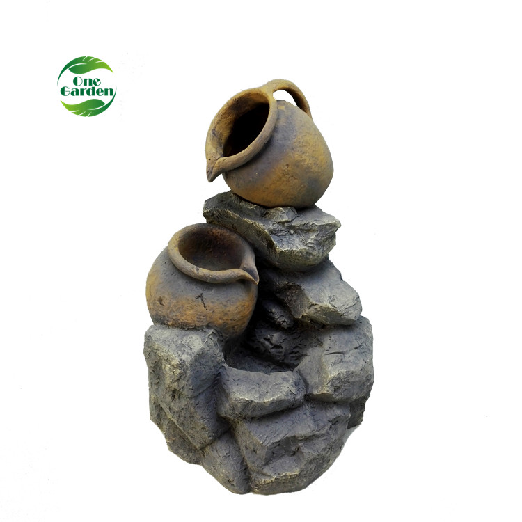 21 Inch Fiberglass Outdoor Artificial Stone Rock Fountain Waterfalls
