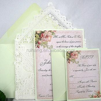 Mint Green Vintage Rose Linen Wedding Invitation Doily Envelope