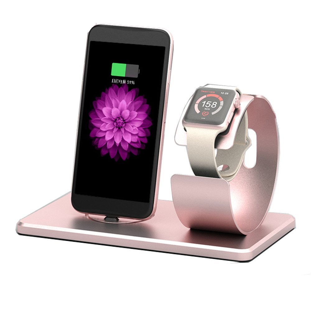 Apple Watch Stand,MNever-Never 2 in 1 Aluminum Charging Stand Dock Station NightStand Cradle Holder for Apple Watch & iPhone 7 SE/5/5s/6/6S/Plus (ROSE)