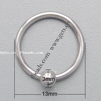 304 Stainless Steel Fashion Stainless Steel Ball Closure Ring 267349
