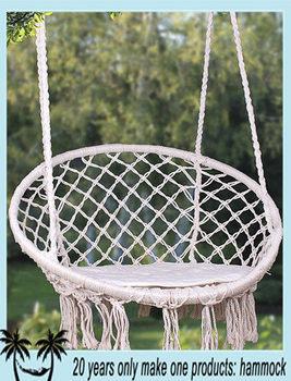 Hanging rope round hammock swing chair buy round hammock for Indoor hanging rope chair
