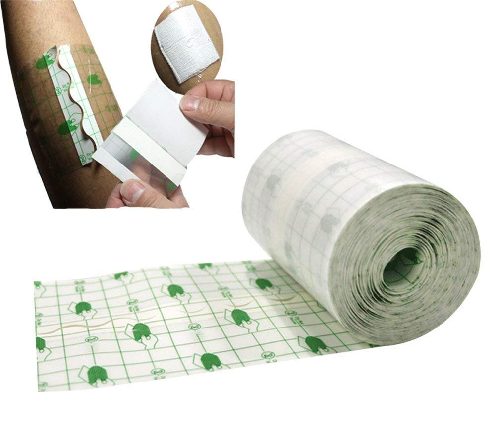 """Funwill Transparent Stretch Adhesive Bandage Tape Retention Dressing Tapes- Hypoallergenic,Waterproof (3.93"""" x 10.93 Yards)"""