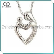 925 Silver Mother and Child Heart-shaped pendant