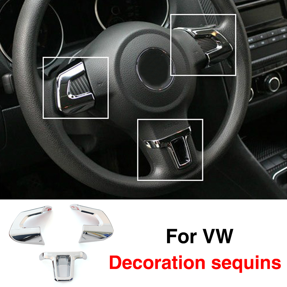 newest steering wheel car sticker for volkswagen vw golf 6 mk6 polo jetta mk5 mk6 bora abschrome. Black Bedroom Furniture Sets. Home Design Ideas
