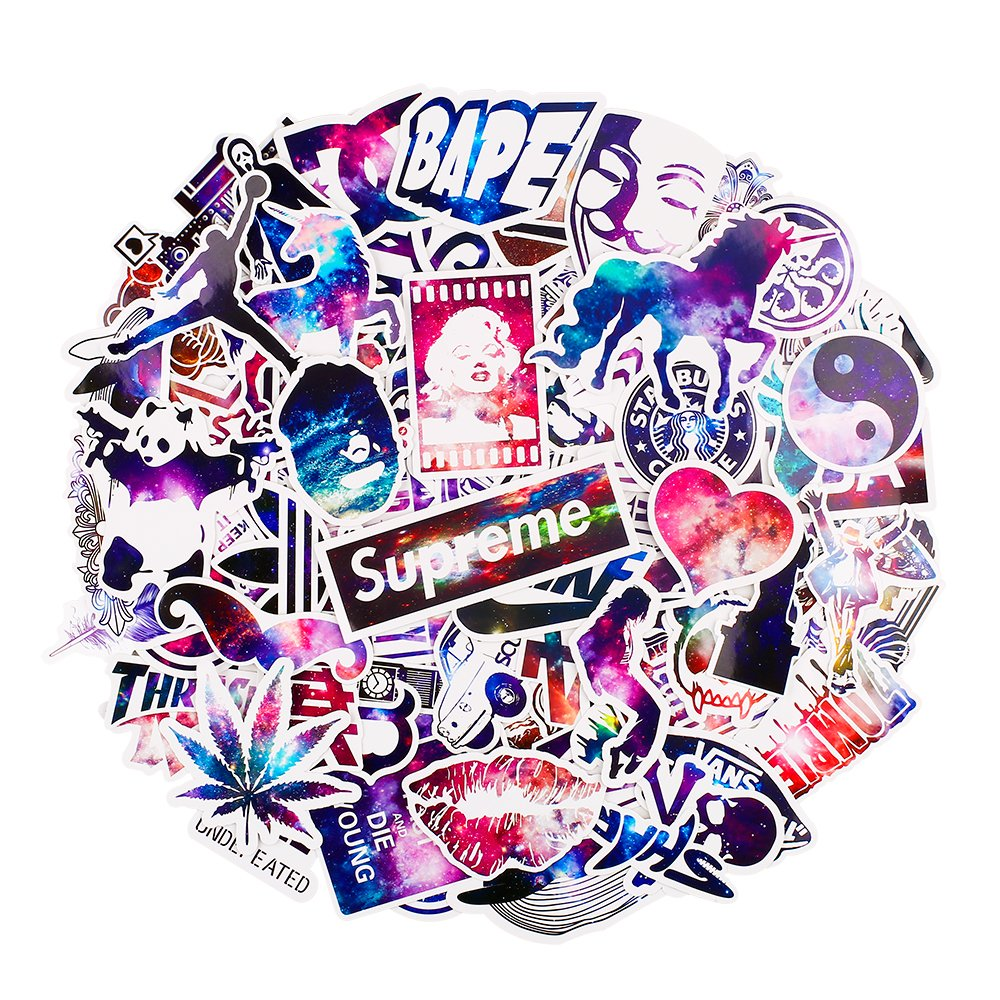 Car Stickers [100 pcs], Breezypals Galaxy Laptop Stickers Motorcycle Bicycle Luggage Decal Graffiti Patches Skateboard Stickers for Laptop - No-Duplicate Sticker Pack