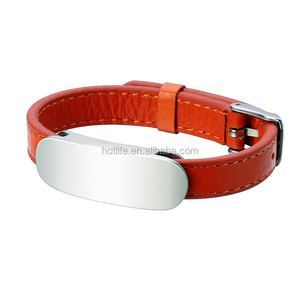 New Style Fancy Design Women Jewelry Bracelet Stainless Steel Adjustable Red Genuine Leather Bangle