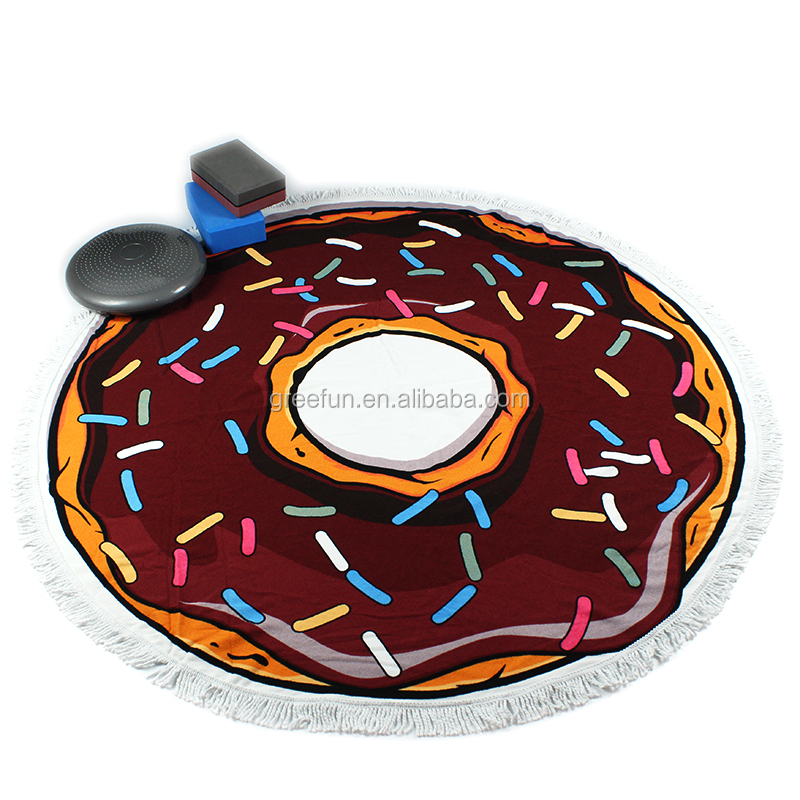 Microfiber Circle Mandala Yoga Mat Gym Mat For Exercise Fitness , Doughnut Round Beach Towel Beach Blanket Table Cloth
