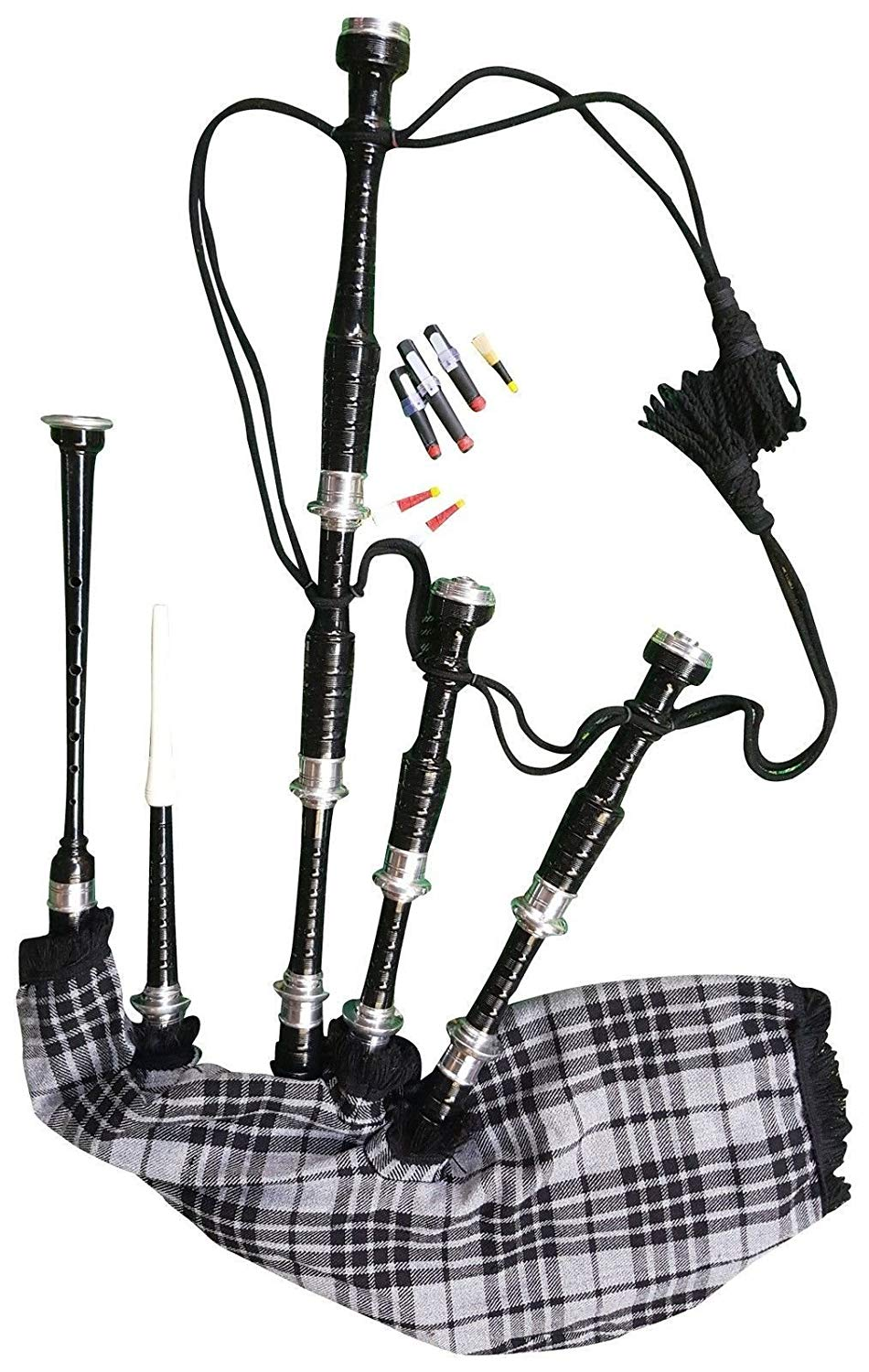 Great Scottish Highland Bagpipe Black Silver Free Tutor Book Accessories Hard