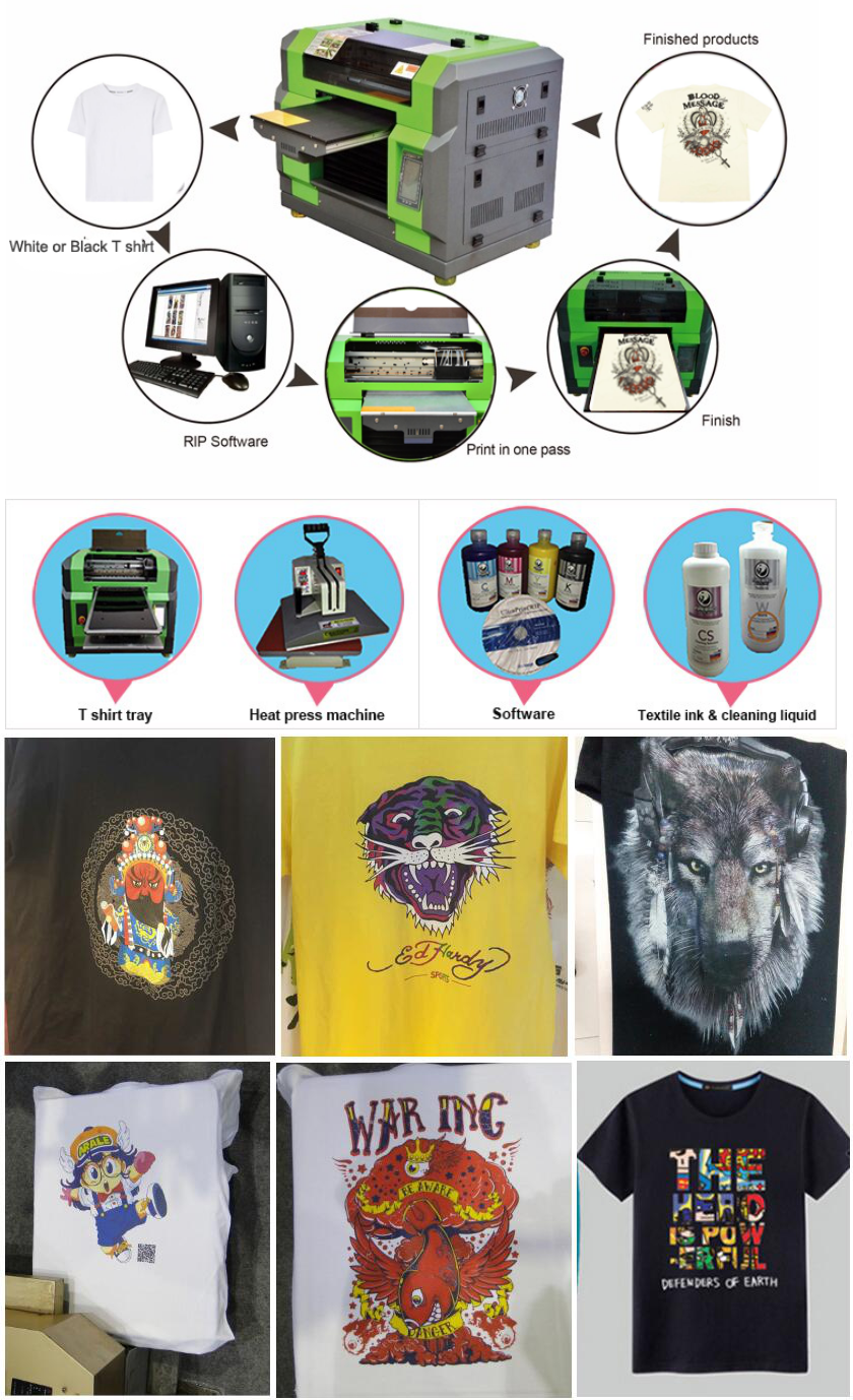 2017 China Fabricage A3 3D Flatbed Digitale Direct 100% Katoen Textiel T-Shirt Printer