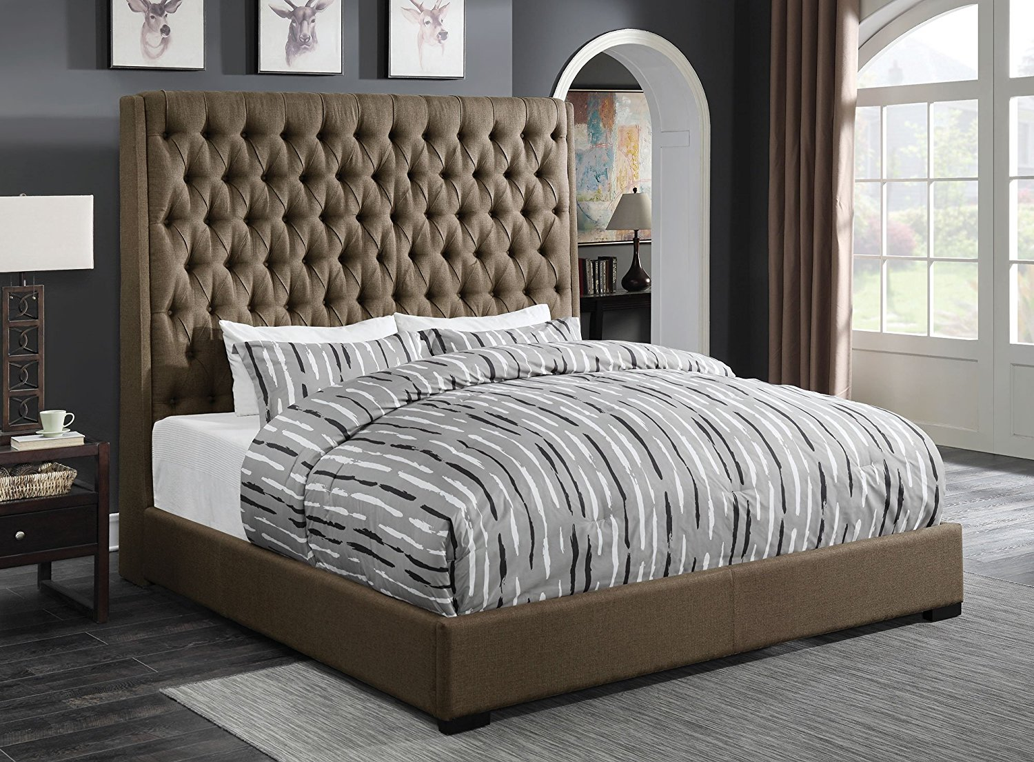 Coaster Camille Upholstered Beds Queen Upholstered Bed in Brown Fabric
