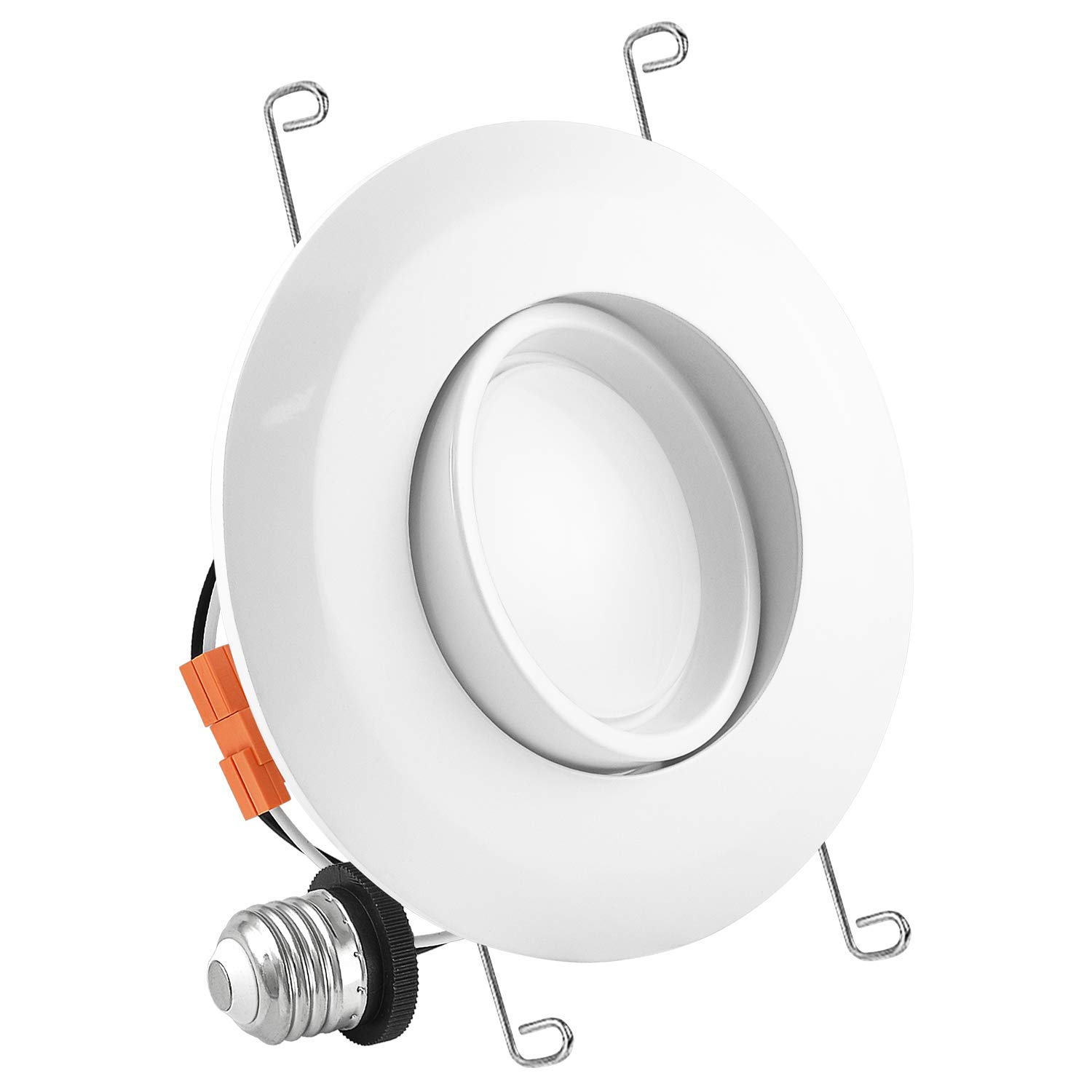 Luxrite 5/6 Inch Gimbal LED Recessed Light, 15W, 5000K Bright White, Dimmable LED Downlight, 1060 Lumens, Energy Star & ETL Listed, CRI 90, Damp Location - Adjustable Recessed Lighting