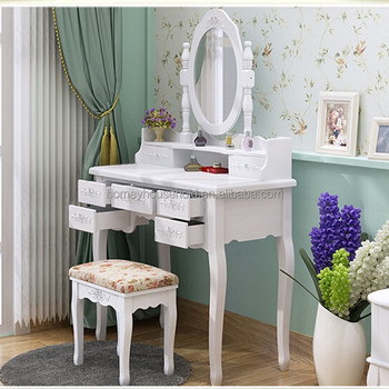 Vanity Makeup Dresser Table Modern Style White Wooden Dressing With Mirror