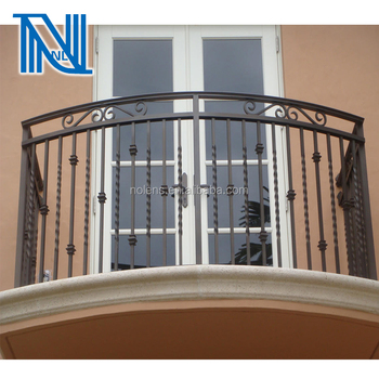 Simple Style Wrought Iron Balcony With Pot Belly Designflat Top