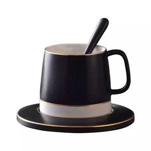 High end product black color modern cheap antique gold rim tea cup and saucer