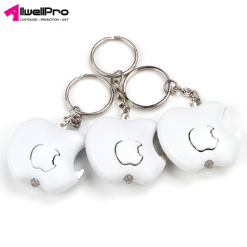 Wholesale Promotion Gifts Plastic Apple Shaped Battery LED light Bottle Opener Keychain
