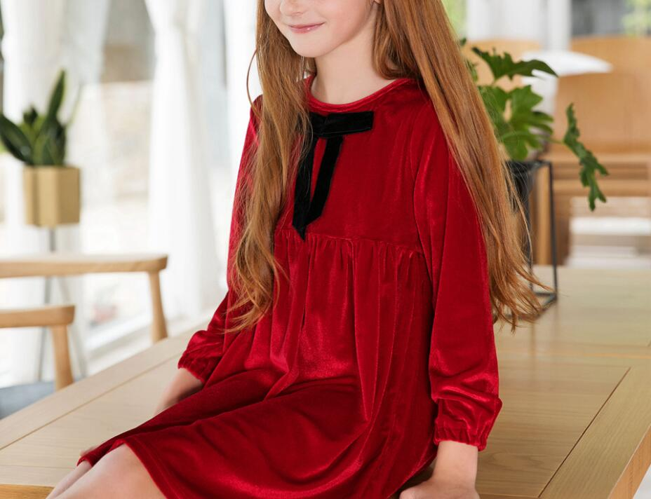 b418a2271 New children frocks designs girls Fashion christmas red velvet long sleeve  outfits Baby Girl Party wear