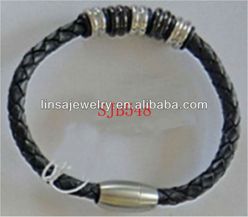 Wholesale Personalized Men Stainless Steel Clasp Braided Black Leather