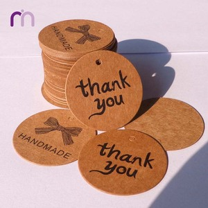 Wholesale Kraft Brown Paper Hang Tag Thank You Tag With Jute Rope
