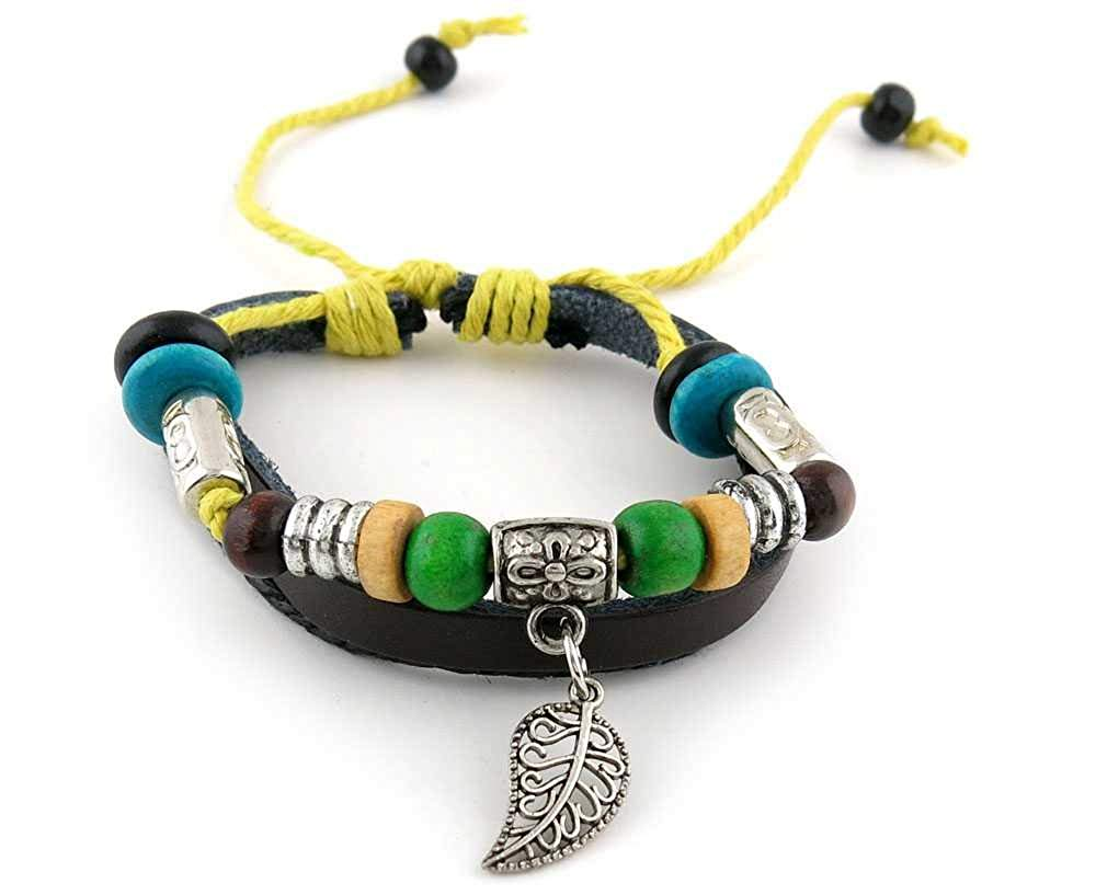 1 Piece Women's Men's Fashion Strand Bracelet 2012 Beads Leaf Leather Braided Adjustable
