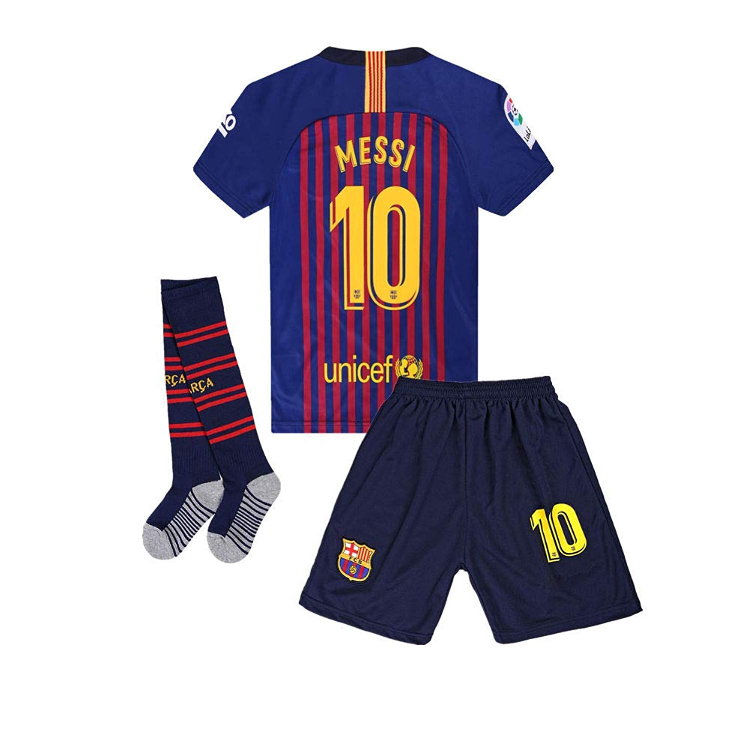 7523ac62a Get Quotations · Runsportj New Season 18 19 Barcelona  10 Messi Home Kids Youth  Soccer Jersey