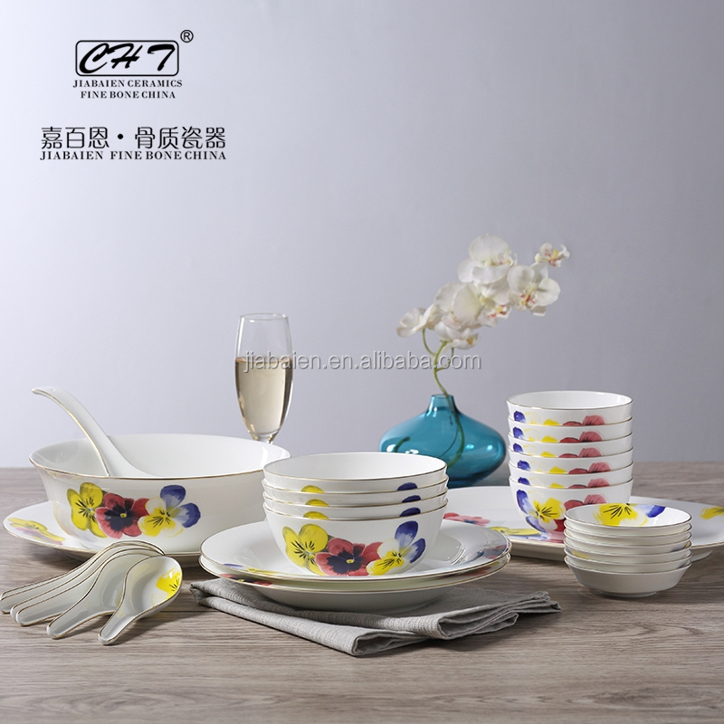 28pcs Fine Bone China China Dinner Set with flower decal for wedding gift