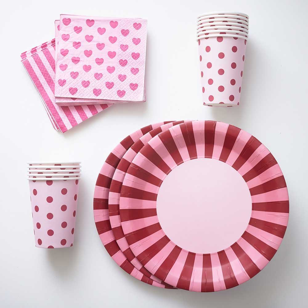Hot Pink Paper Plates Cups Napkins (12) Large Stripe Plates (12) Polka & Buy Hot Pink Paper Plates Cups Napkins (12) Large Stripe Plates (12 ...