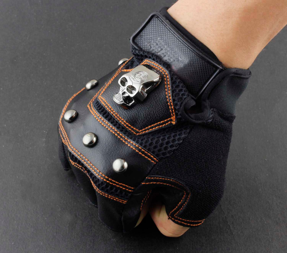 New Skull Logo Mens Leather Biker Motorcycle Training ...