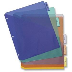 Poly Index Dividers, w/ Pocket, 5-Tab, Multi [Set of 3]