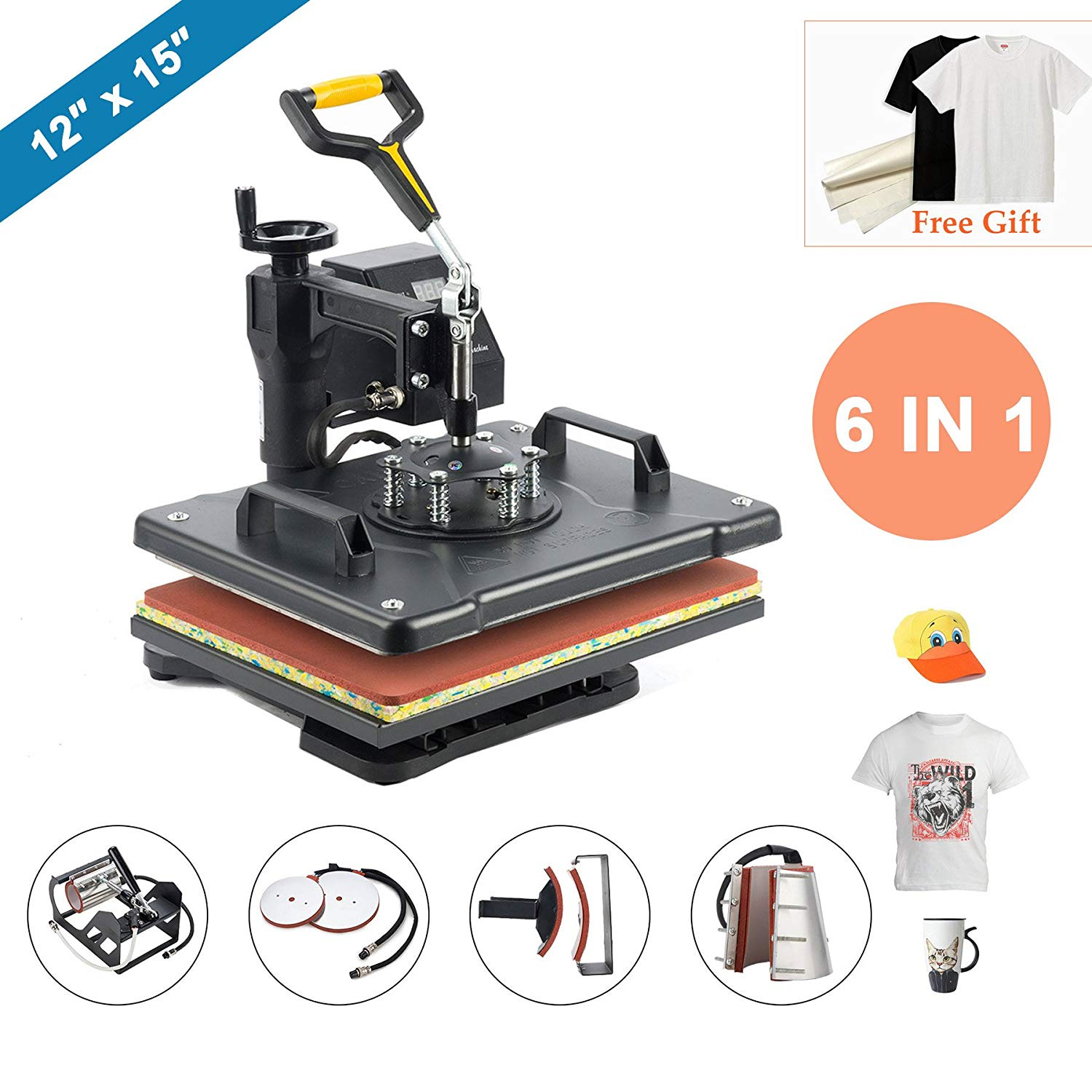 CO-Z Heat Press 6 in 1 Multifunction Sublimation Heat Press Machine Desktop Iron Baseball Hat Press 1250W Digital Swing Away Transfer T Shirt Hat Mug