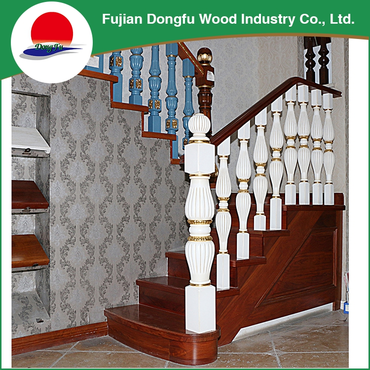 Wholesale prefab interior wooden stair, oak stair with handrail