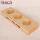 counter table wine bottle wood display risers for 3 pcs