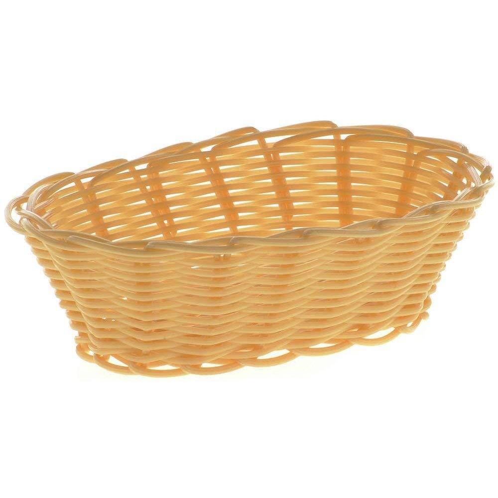 "HUBERT Wicker Bread Basket Oval Natural Woven Polypropylene - 7"" L x 5"" W x 2"" H"