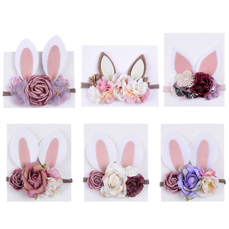Fashion New Design Christmas Headband Multicolor Flowers Bunny Ear Flower Headband