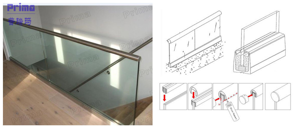 Easy To Install Glass Handrail Aluminium Channel Railing
