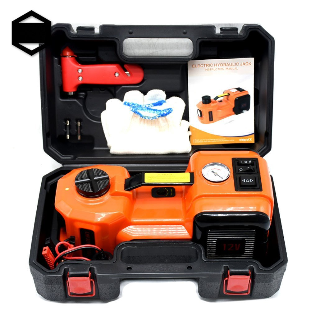 GOGOLO 5.0T(11000lb) Capacity Electric Hydraulic DC12V Car Floor Jack Kit Including Emergency Tire Inflator Pump with LED & Electric Impact Wrench for Car, SUV, Pick Up(5T For Generic Vehicles)