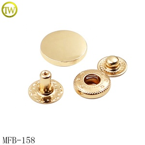 Shiny gold custom logo press metal snap button design for jeans