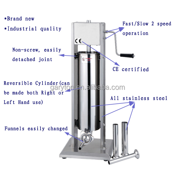 GRT-VSS3 Vertical 3L Stainless Steel Manual Sausage Stuffer