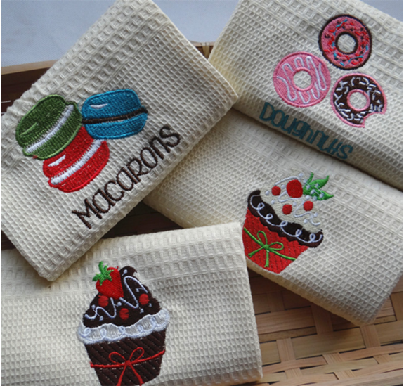Factory price high-grade embroidered 100% cotton waffle tea <strong>towel</strong>