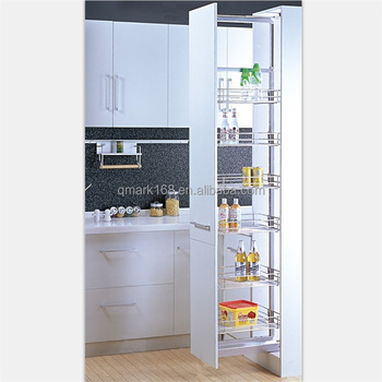 Kitchen Cabinet Tall Unit Pull Out Metal Pantry Organizer With Soft Close Slide