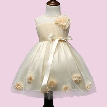Princess Dresses Bow Belt Gauze Flower Dress Back Zipper Easy Wear Kids Clothing Costume Robe De