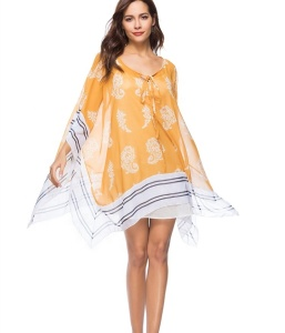 A3818 Loose printed lace beach holiday skirt sunscreen shawl yellow dress