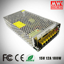 2017 New Model 180w 15v 12a S-180-15 single output switch mode power supply for factory use