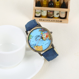 Fashion Map Dial Special Cute Hands Retro Jeans Strap Bronze Case Popular Student Watch