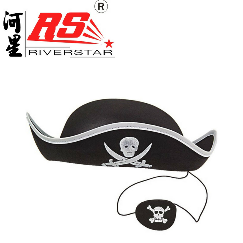 Children Corsair Adventurer Cosplay Costume Party Head Accessories Hat with Eye Mask Pirate Hat