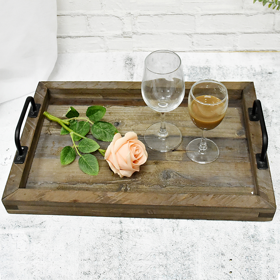 Wholesale Custom Old Rustic Antique Vintage Wood Food Serving Tray, Farmhouse Decor Distressed Reclaimed Wooden Serving Tray