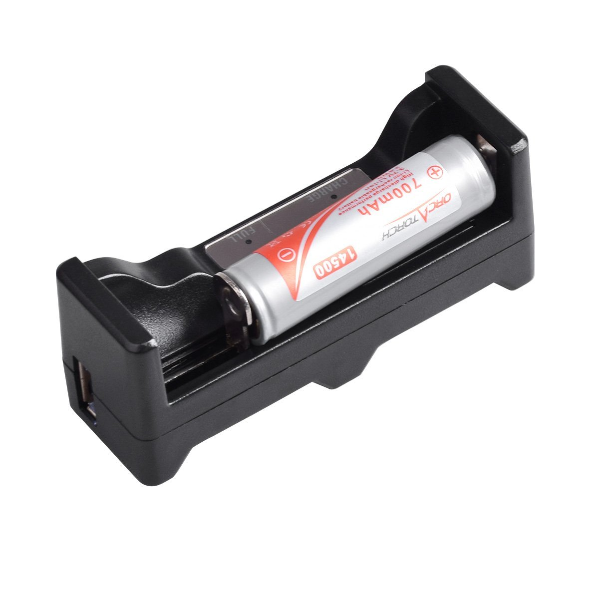 ORCATORCH 14500 700mAh 3.7V Li-ion Rechargeable Battery + 1*Charger For Rechargeable 14500/18650/26650/AA/AAA/C battery