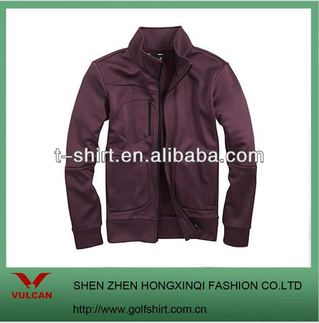 2013 solid color warm golf jacket with front zipper
