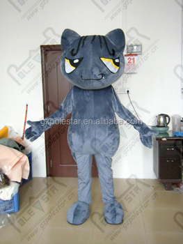 custom slim dark grey cat mascot costumes NO.4463