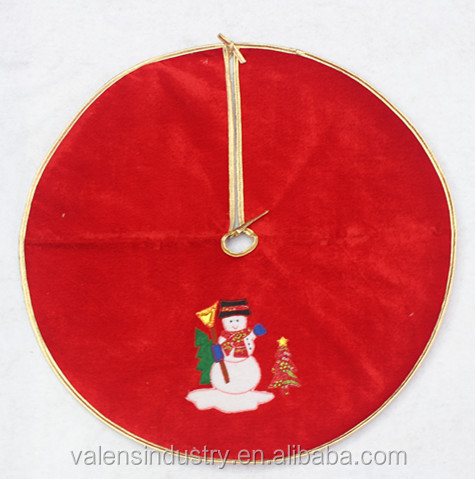 Handmade Wholesale Velvet Sexy Santa Claus Christmas Tree skirt/cover/costume with Santa Claus Snowman and Christmas Tree Decor